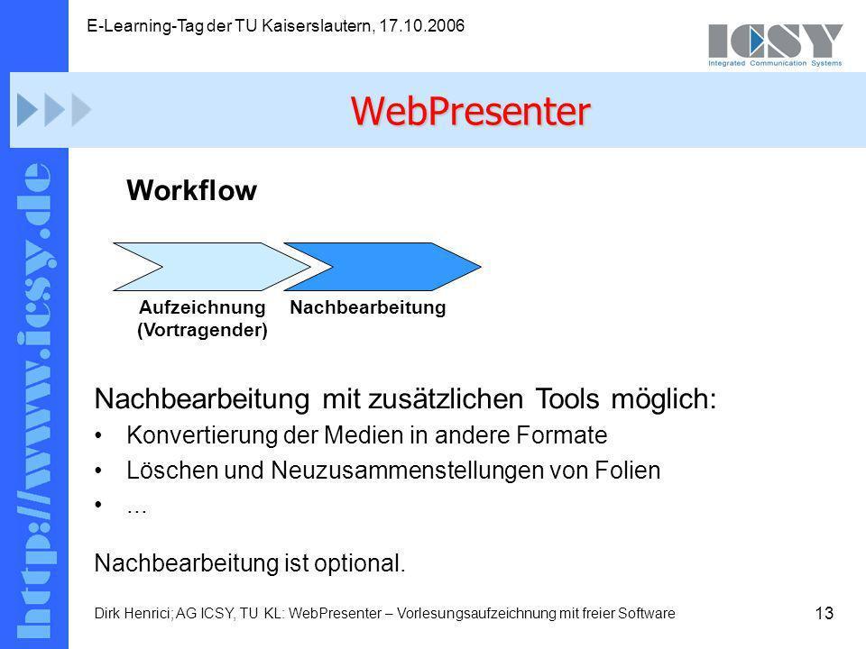 13 E-Learning-Tag der TU Kaiserslautern, 17.10.2006 Dirk Henrici; AG ICSY, TU KL: WebPresenter – Vorlesungsaufzeichnung mit freier Software Workflow Nachbearbeitung mit zusätzlichen Tools möglich: Konvertierung der Medien in andere Formate Löschen und Neuzusammenstellungen von Folien...