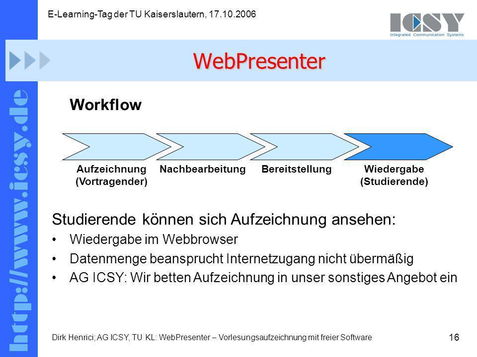 16 E-Learning-Tag der TU Kaiserslautern, 17.10.2006 Dirk Henrici; AG ICSY, TU KL: WebPresenter – Vorlesungsaufzeichnung mit freier Software Workflow Studierende können sich Aufzeichnung ansehen: Wiedergabe im Webbrowser Datenmenge beansprucht Internetzugang nicht übermäßig AG ICSY: Wir betten Aufzeichnung in unser sonstiges Angebot ein WebPresenter Aufzeichnung (Vortragender) NachbearbeitungBereitstellungWiedergabe (Studierende)