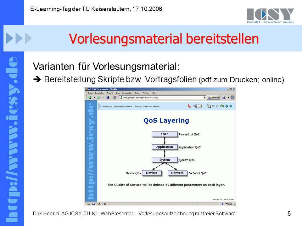 5 E-Learning-Tag der TU Kaiserslautern, 17.10.2006 Dirk Henrici; AG ICSY, TU KL: WebPresenter – Vorlesungsaufzeichnung mit freier Software Varianten für Vorlesungsmaterial: Bereitstellung Skripte bzw.