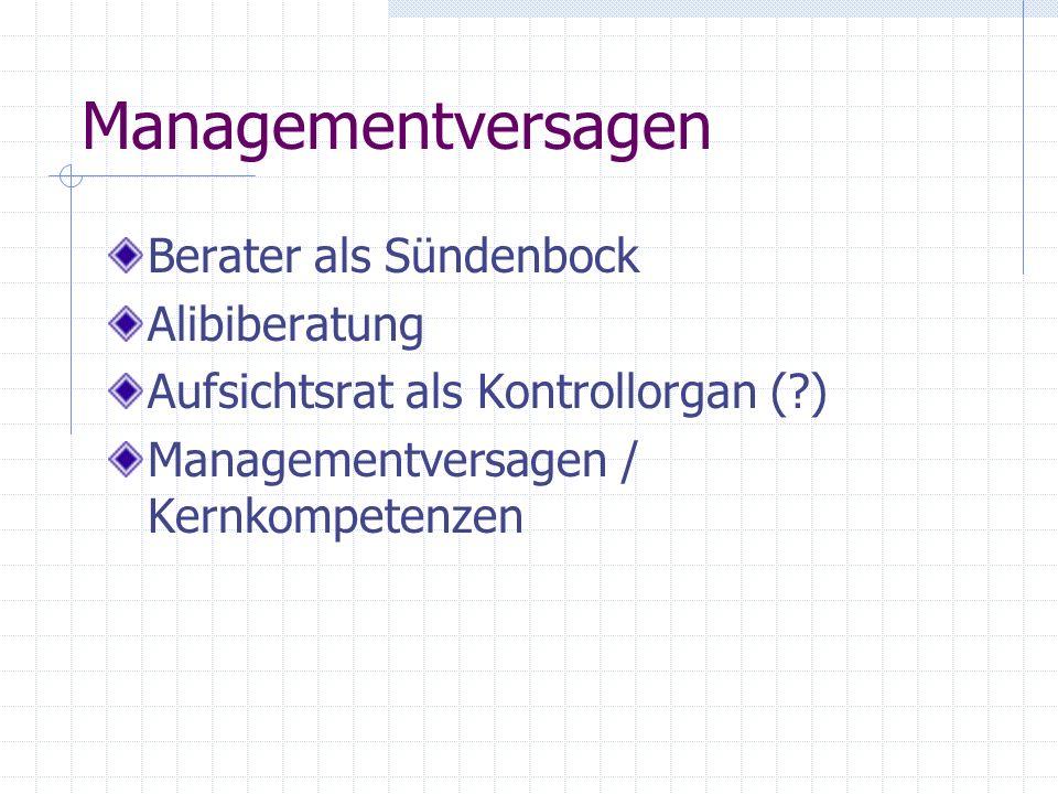 Managementversagen Berater als Sündenbock Alibiberatung Aufsichtsrat als Kontrollorgan (?) Managementversagen / Kernkompetenzen
