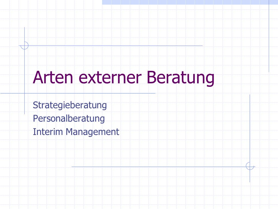 Arten externer Beratung Strategieberatung Personalberatung Interim Management