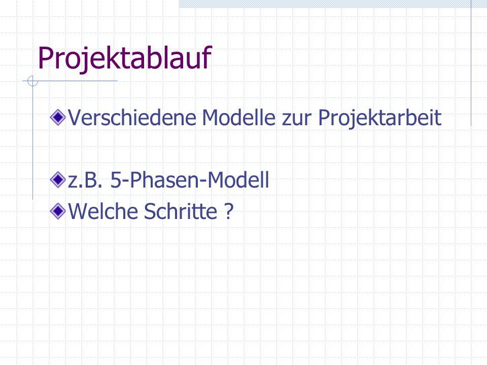 Projektablauf Verschiedene Modelle zur Projektarbeit z.B. 5-Phasen-Modell Welche Schritte ?