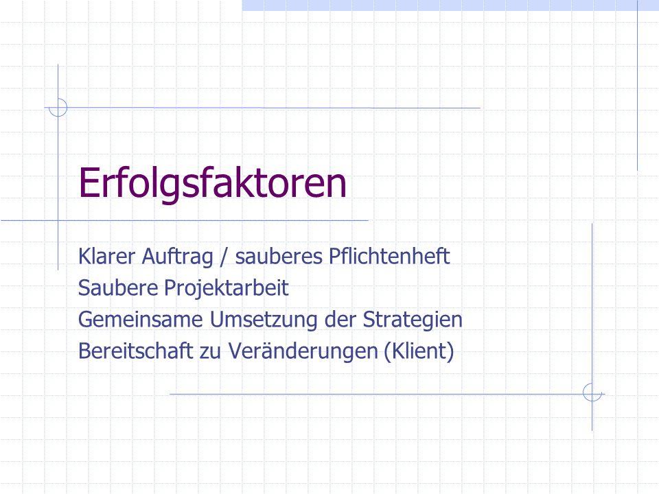 Erfolgsfaktoren Klarer Auftrag / sauberes Pflichtenheft Saubere Projektarbeit Gemeinsame Umsetzung der Strategien Bereitschaft zu Veränderungen (Klien