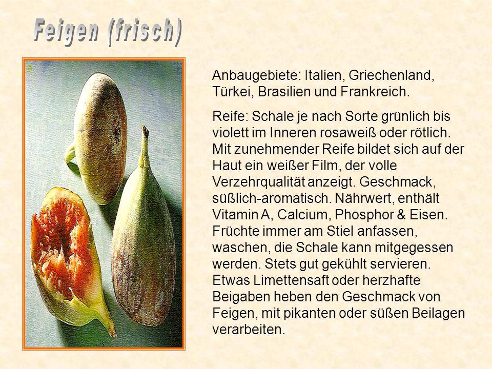 Anbaugebiet: Israel Reife: Honigbraune Farbe, weich. Frische Datteln sind weniger süß als getrocknete, erinnern leicht an Honig. Nährwert: Enthält Vit