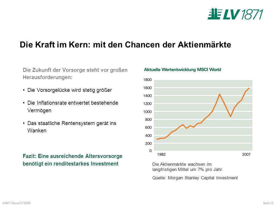 Seite 10AMKT Stand 07/2008 Die Kraft im Kern: mit den Chancen der Aktienmärkte Die Zukunft der Vorsorge steht vor großen Herausforderungen: Die Vorsor