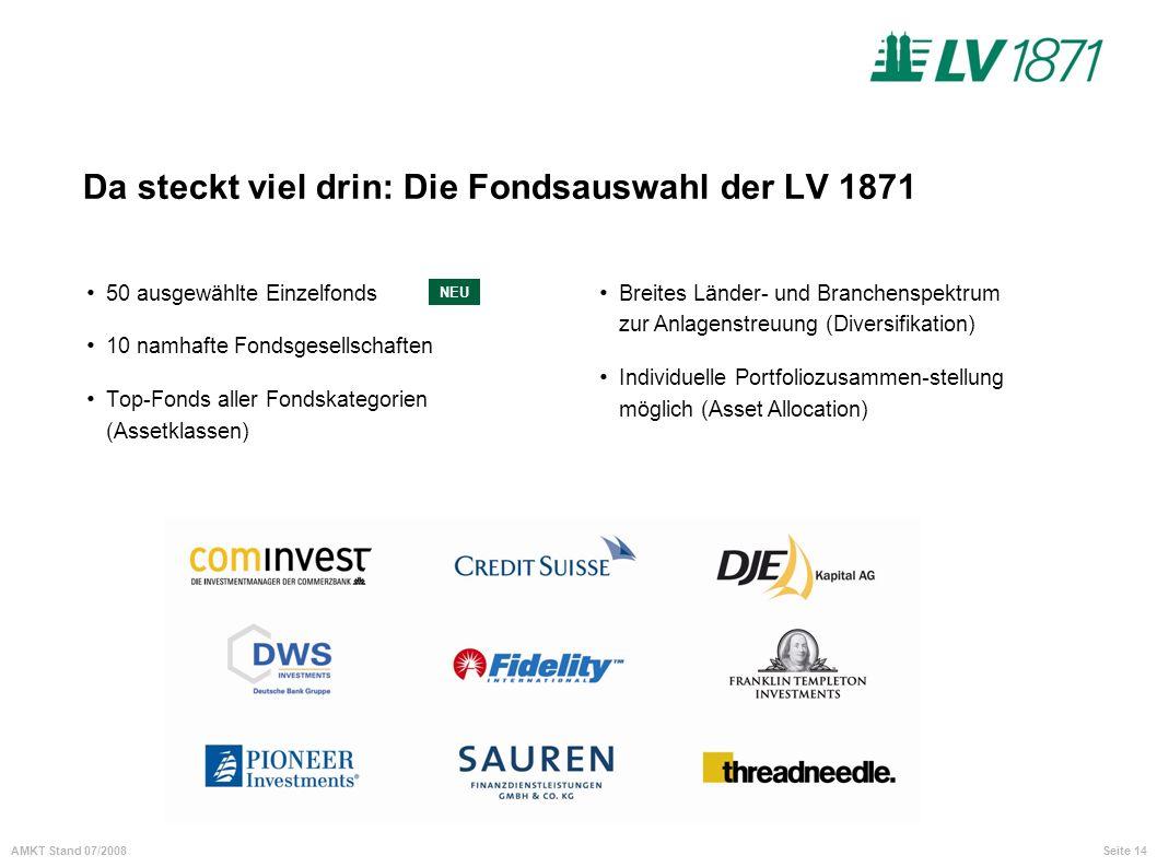 Seite 14AMKT Stand 07/2008 Da steckt viel drin: Die Fondsauswahl der LV 1871 50 ausgewählte Einzelfonds 10 namhafte Fondsgesellschaften Top-Fonds alle