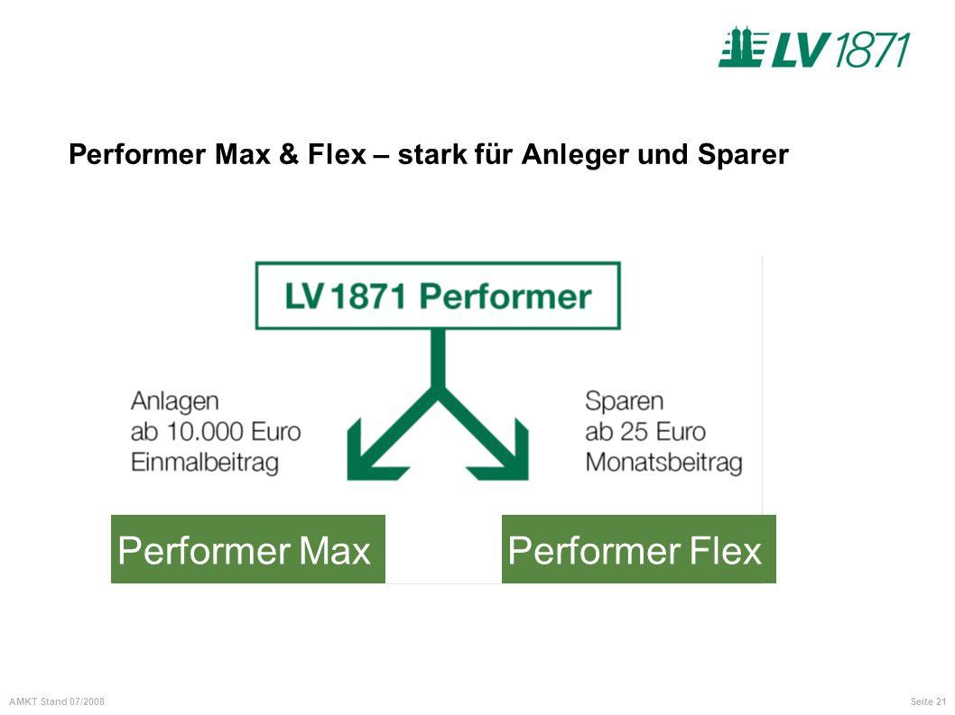 Seite 21AMKT Stand 07/2008 Performer Max & Flex – stark für Anleger und Sparer Performer MaxPerformer Flex