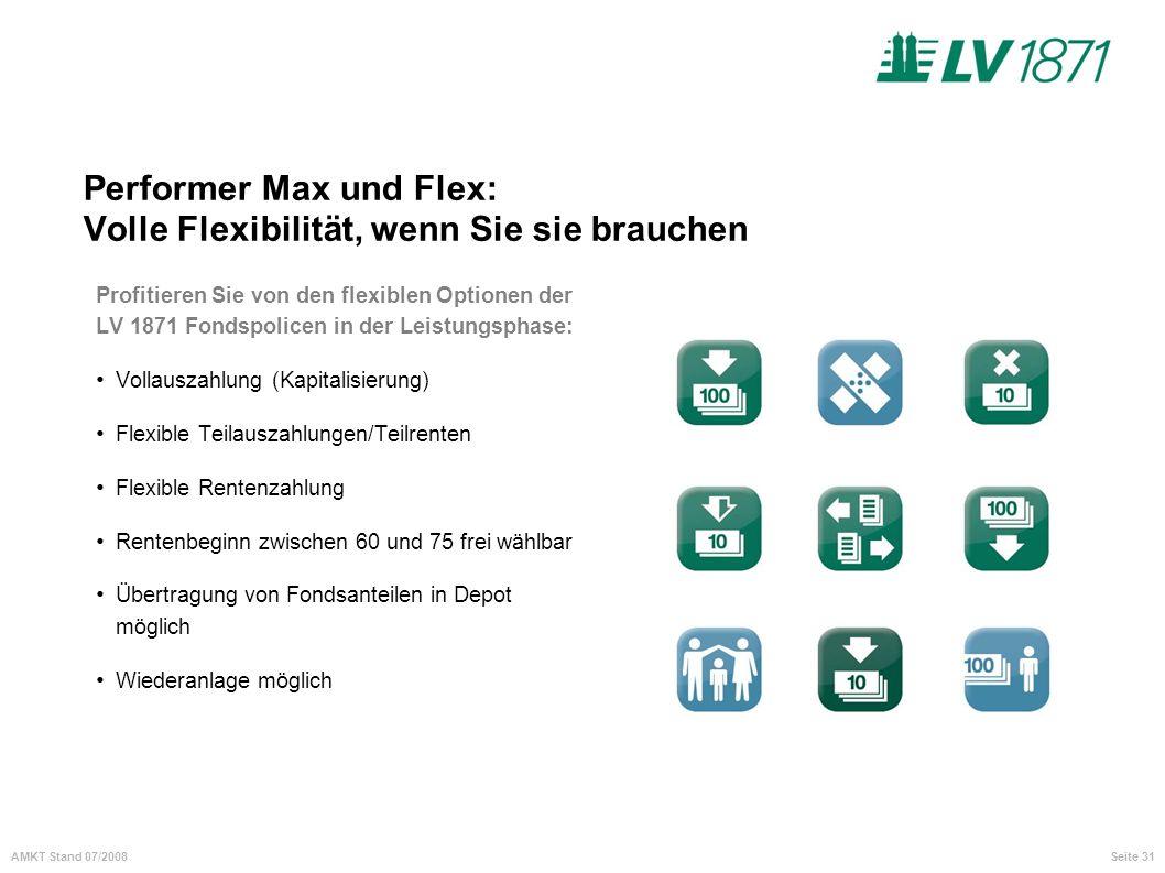 Seite 31AMKT Stand 07/2008 Performer Max und Flex: Volle Flexibilität, wenn Sie sie brauchen Profitieren Sie von den flexiblen Optionen der LV 1871 Fo