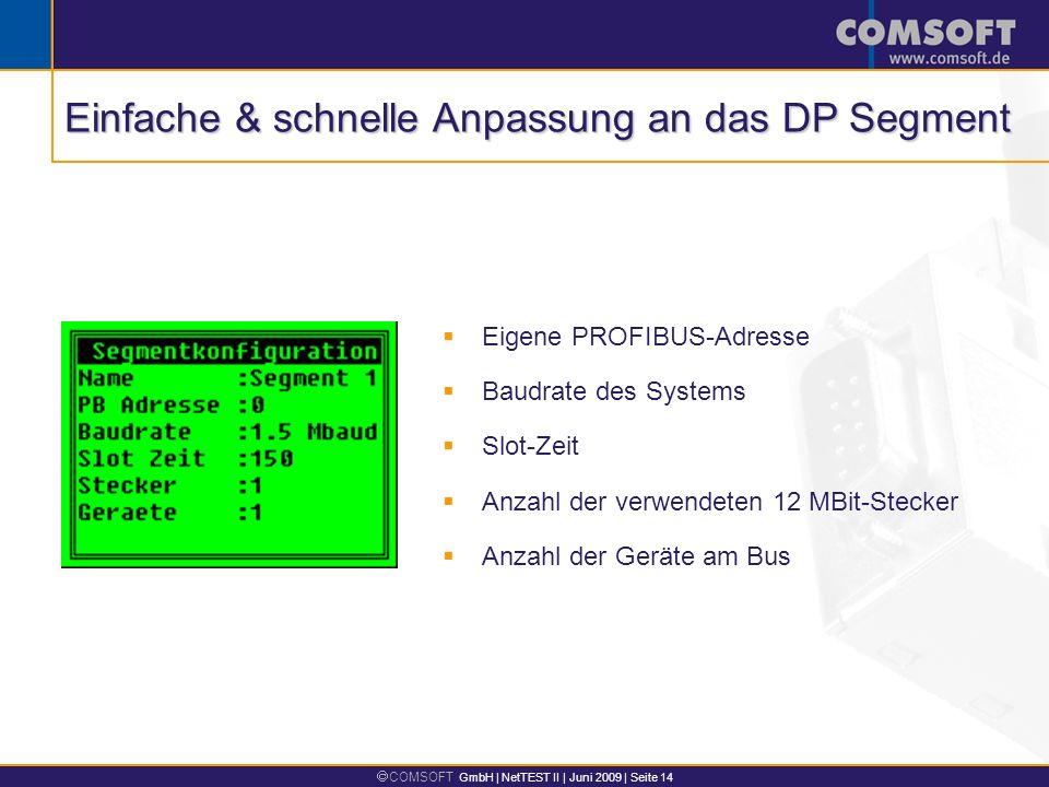 COMSOFT GmbH | NetTEST II | Juni 2009 | Seite 14 Eigene PROFIBUS-Adresse Baudrate des Systems Slot-Zeit Anzahl der verwendeten 12 MBit-Stecker Anzahl der Geräte am Bus Einfache & schnelle Anpassung an das DP Segment