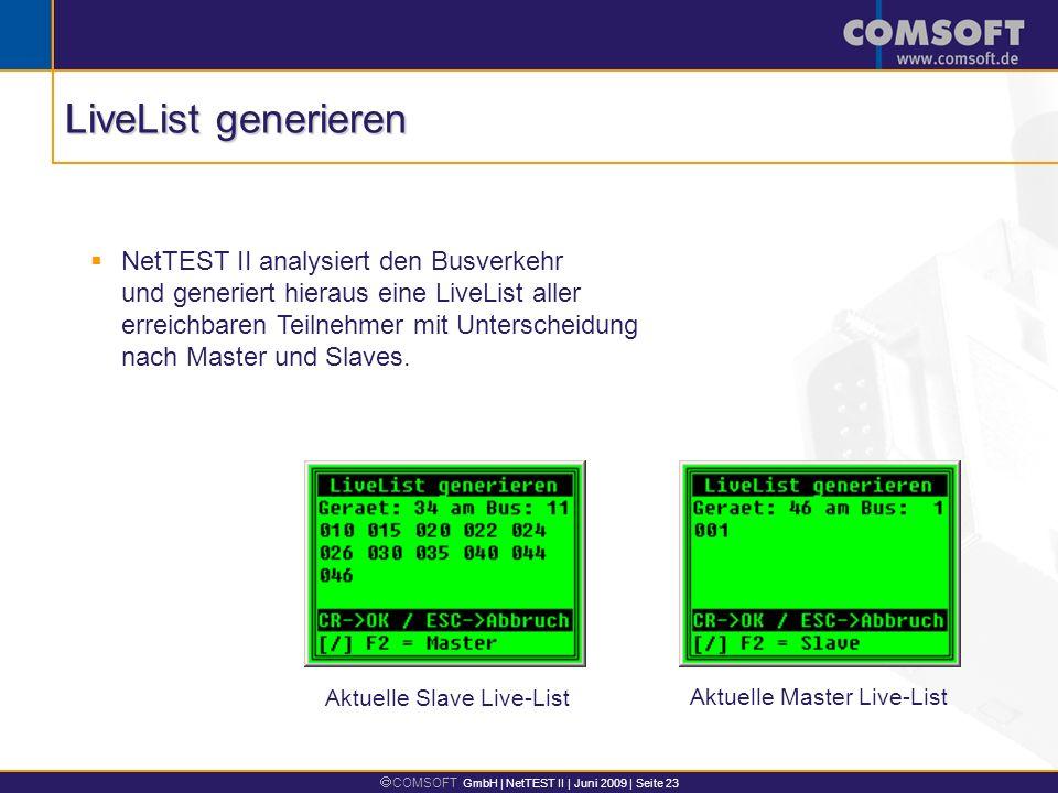 COMSOFT GmbH | NetTEST II | Juni 2009 | Seite 23 Aktuelle Slave Live-List NetTEST II analysiert den Busverkehr und generiert hieraus eine LiveList aller erreichbaren Teilnehmer mit Unterscheidung nach Master und Slaves.