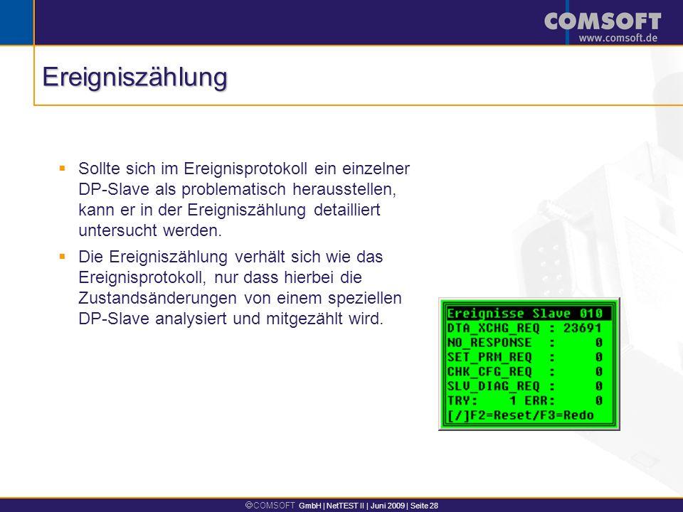COMSOFT GmbH | NetTEST II | Juni 2009 | Seite 28 Sollte sich im Ereignisprotokoll ein einzelner DP-Slave als problematisch herausstellen, kann er in der Ereigniszählung detailliert untersucht werden.