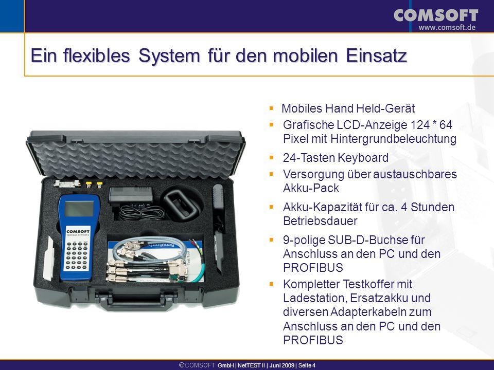 COMSOFT GmbH | NetTEST II | Juni 2009 | Seite 4 Mobiles Hand Held-Gerät Grafische LCD-Anzeige 124 * 64 Pixel mit Hintergrundbeleuchtung Versorgung über austauschbares Akku-Pack Akku-Kapazität für ca.