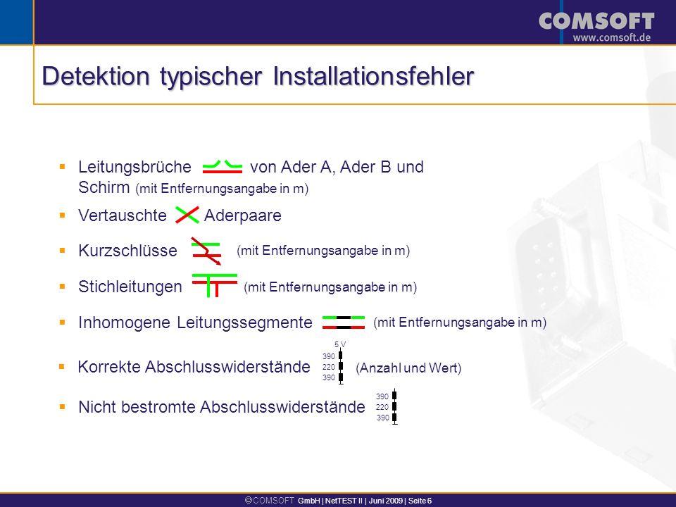 COMSOFT GmbH | NetTEST II | Juni 2009 | Seite 6 Leitungsbrüche von Ader A, Ader B und Schirm (mit Entfernungsangabe in m) Korrekte Abschlusswiderständ