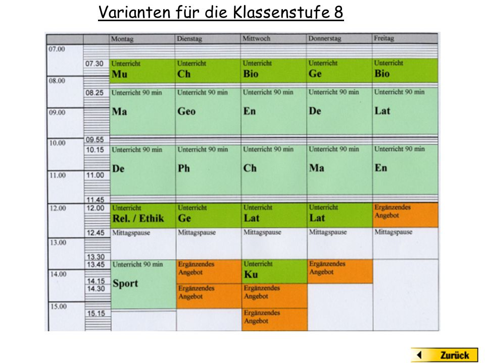 Varianten für die Klassenstufe 8