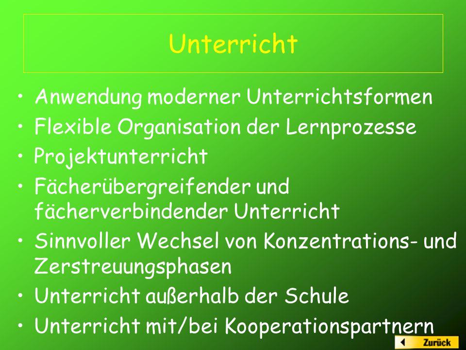 Unterricht Anwendung moderner Unterrichtsformen Flexible Organisation der Lernprozesse Projektunterricht Fächerübergreifender und fächerverbindender U