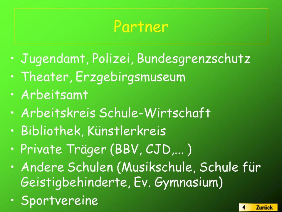 Partner Jugendamt, Polizei, Bundesgrenzschutz Theater, Erzgebirgsmuseum Arbeitsamt Arbeitskreis Schule-Wirtschaft Bibliothek, Künstlerkreis Private Träger (BBV, CJD,...