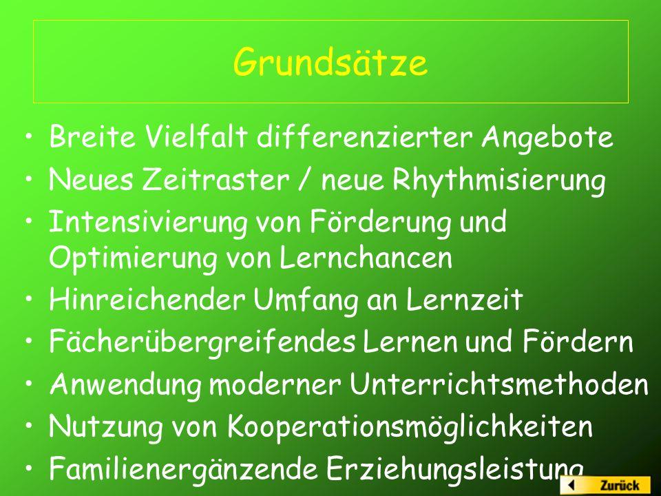 Grundsätze Breite Vielfalt differenzierter Angebote Neues Zeitraster / neue Rhythmisierung Intensivierung von Förderung und Optimierung von Lernchance