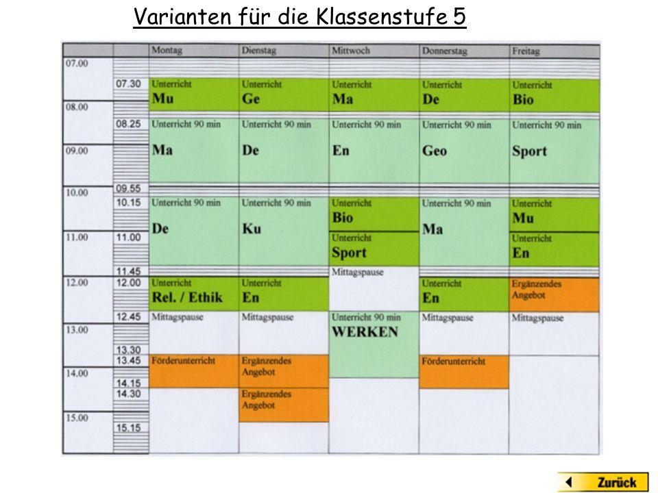 Varianten für die Klassenstufe 5