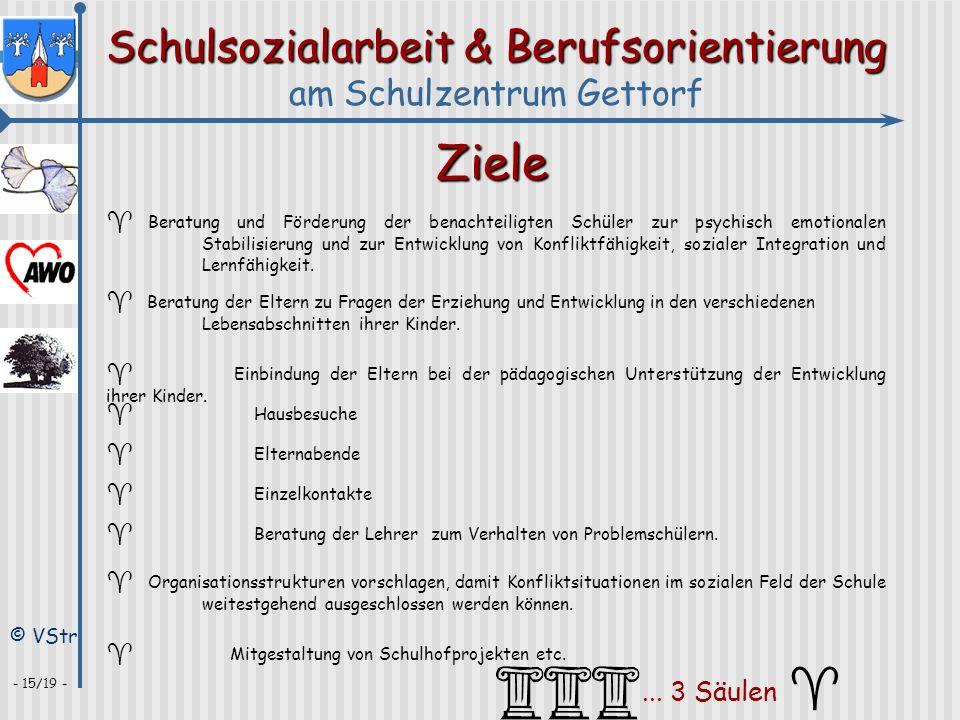 Schulsozialarbeit & Berufsorientierung am Schulzentrum Gettorf © VStr - 15/19 - Ziele ^ Beratung und Förderung der benachteiligten Schüler zur psychis