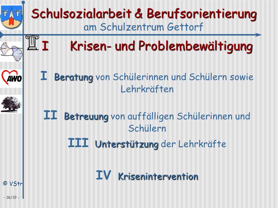 Schulsozialarbeit & Berufsorientierung am Schulzentrum Gettorf © VStr - 16/19 - IKrisen- und Problembewältigung Krisenintervention IV Kriseninterventi