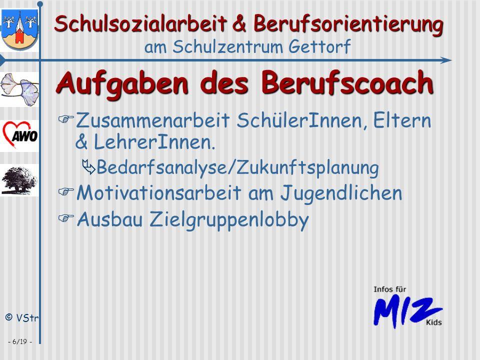 Schulsozialarbeit & Berufsorientierung am Schulzentrum Gettorf © VStr - 17/19 - IIPrävention 1 IV Gesprächsangebote II Gewalt, Drogen, Aids,...