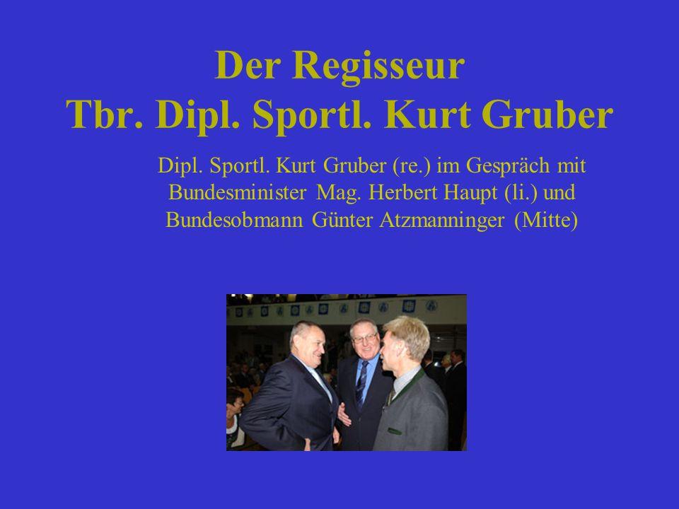 Der Regisseur Tbr. Dipl. Sportl. Kurt Gruber Dipl. Sportl. Kurt Gruber (re.) im Gespräch mit Bundesminister Mag. Herbert Haupt (li.) und Bundesobmann