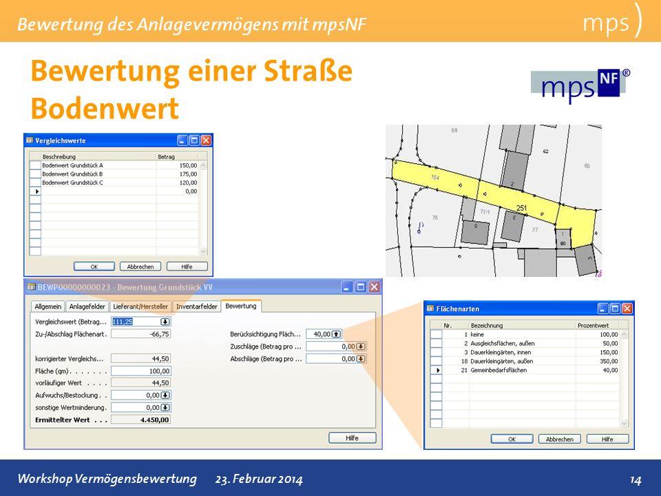 Bewertung des Anlagevermögens mit mpsNF 14Workshop Vermögensbewertung23. Februar 2014 Bewertung einer Straße Bodenwert mps )