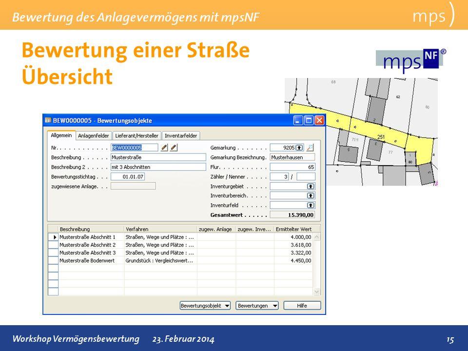 Bewertung des Anlagevermögens mit mpsNF 15Workshop Vermögensbewertung23. Februar 2014 Bewertung einer Straße Übersicht mps )