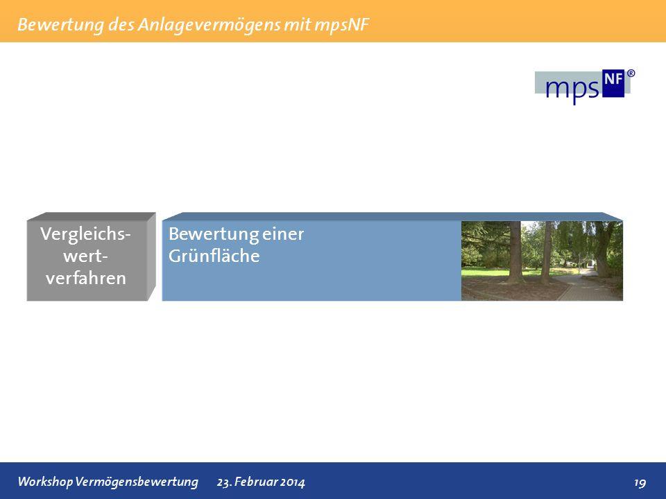 Bewertung des Anlagevermögens mit mpsNF 19Workshop Vermögensbewertung23. Februar 2014 Vergleichs- wert- verfahren Bewertung einer Grünfläche