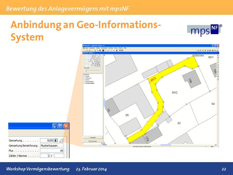 Bewertung des Anlagevermögens mit mpsNF 22Workshop Vermögensbewertung23. Februar 2014 Anbindung an Geo-Informations- System