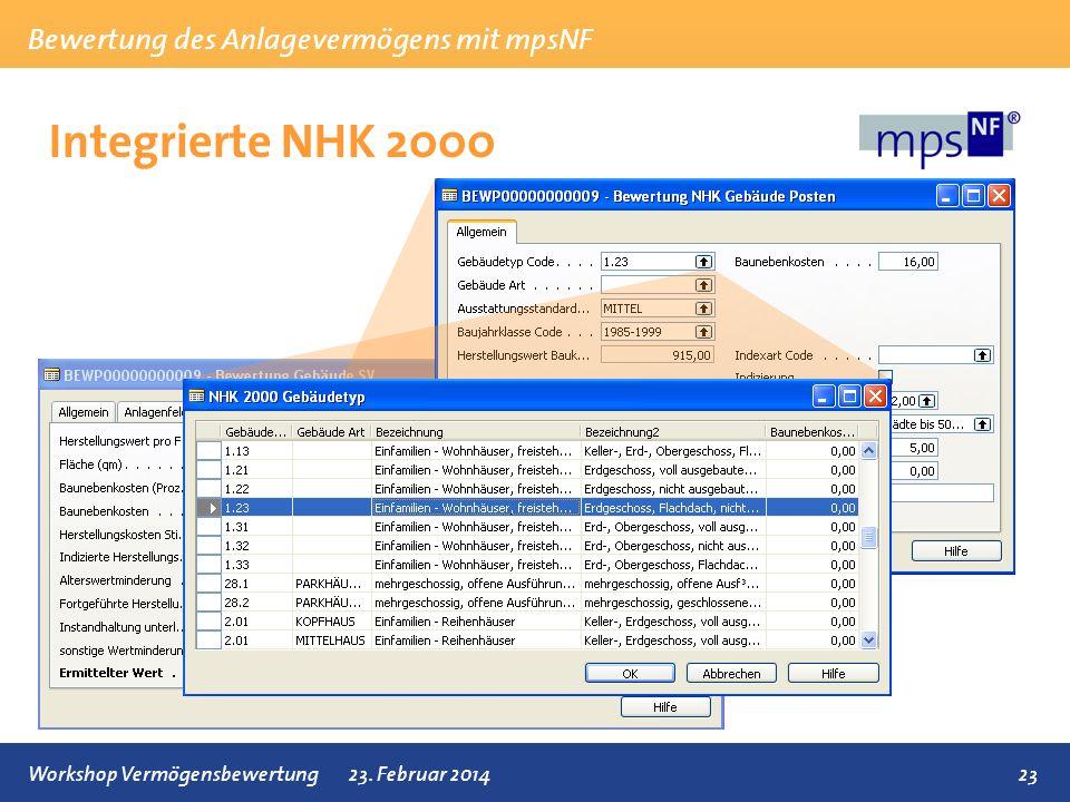 Bewertung des Anlagevermögens mit mpsNF 23Workshop Vermögensbewertung23. Februar 2014 Integrierte NHK 2000