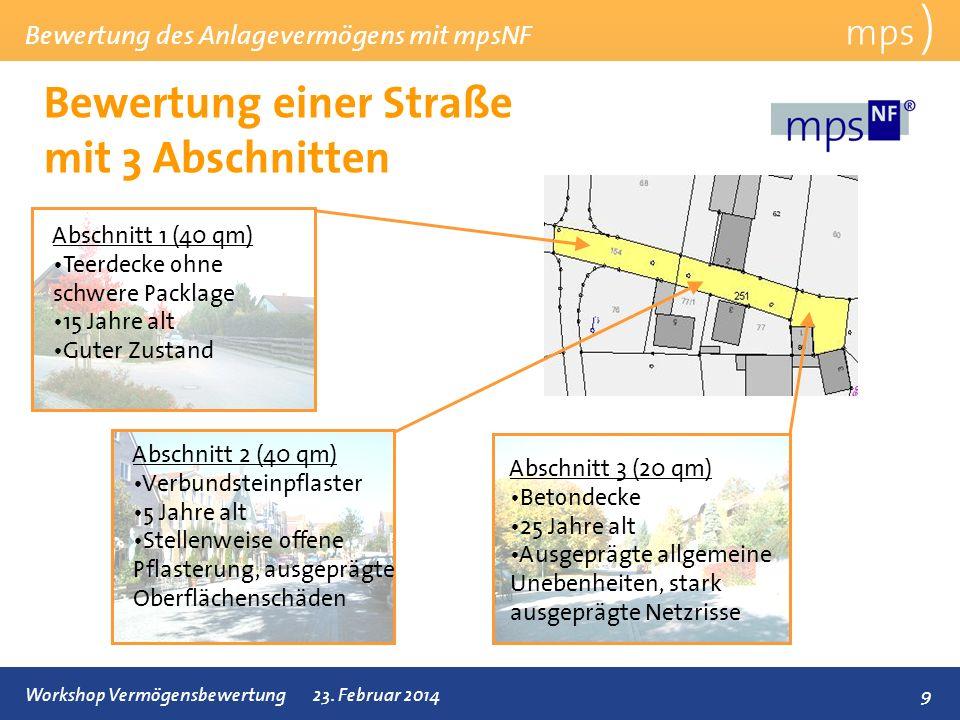 Bewertung des Anlagevermögens mit mpsNF 9Workshop Vermögensbewertung23. Februar 2014 Bewertung einer Straße mit 3 Abschnitten mps ) Abschnitt 1 (40 qm