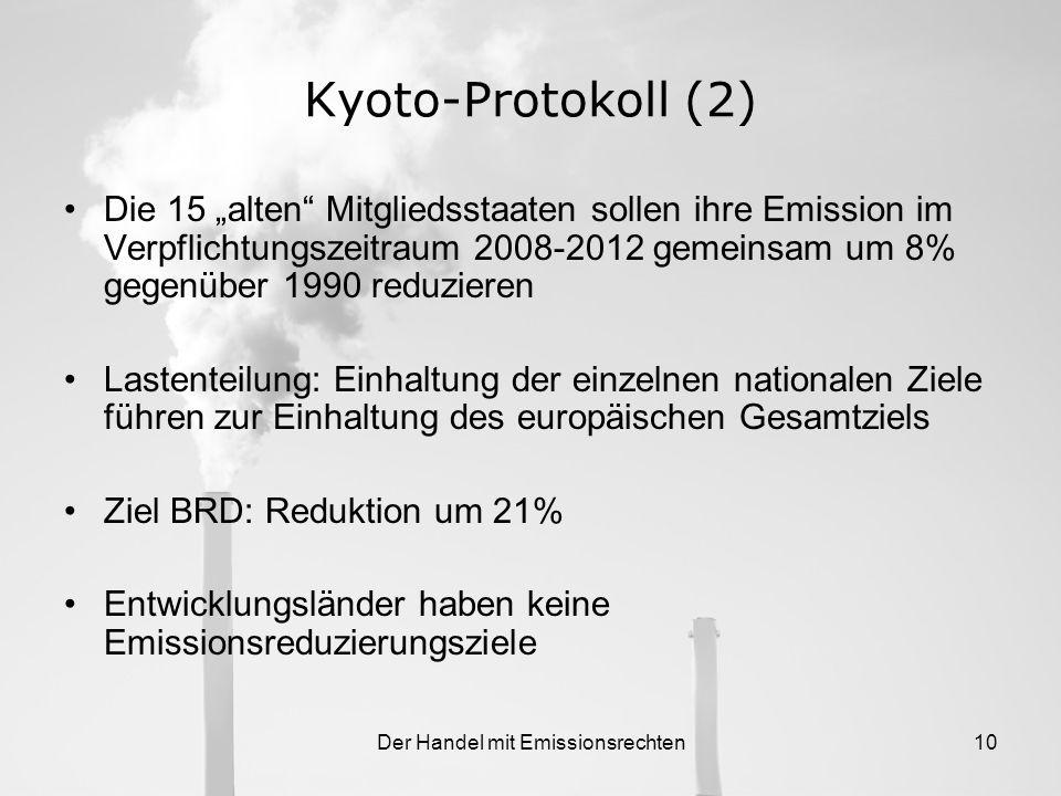 Der Handel mit Emissionsrechten9 1.3.Kyoto-Protokoll Bisherigen Verpflichtungen zur Klimaänderung würde nicht genügen 11. Dezember 1997: In Kyoto wird