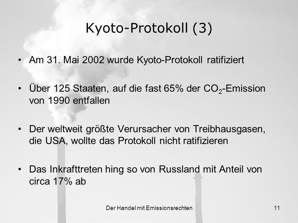 Der Handel mit Emissionsrechten10 Kyoto-Protokoll (2) Die 15 alten Mitgliedsstaaten sollen ihre Emission im Verpflichtungszeitraum 2008-2012 gemeinsam