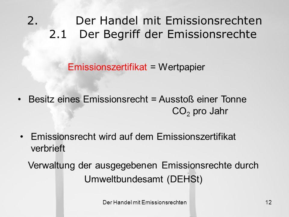 Der Handel mit Emissionsrechten11 Kyoto-Protokoll (3) Am 31. Mai 2002 wurde Kyoto-Protokoll ratifiziert Über 125 Staaten, auf die fast 65% der CO 2 -E
