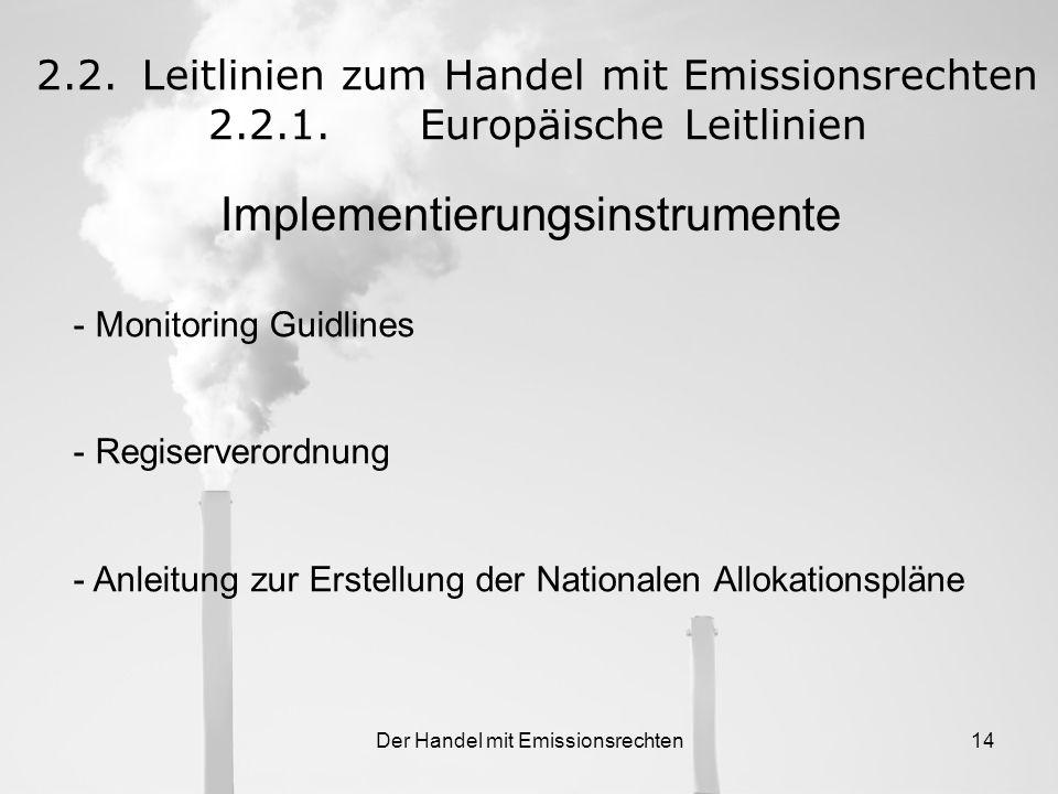 Der Handel mit Emissionsrechten13 2.2.Leitlinien zum Handel mit Emissionsrechten 2.2.1.Europäische Leitlinien Grundlage für den Handel mit Treibhausga
