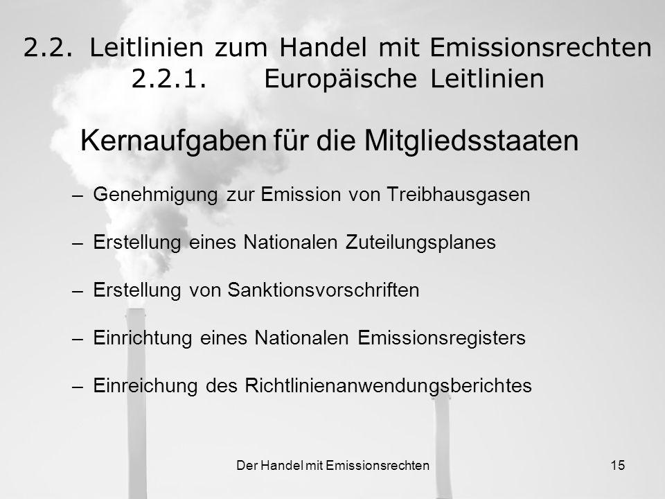 Der Handel mit Emissionsrechten14 Implementierungsinstrumente 2.2.Leitlinien zum Handel mit Emissionsrechten 2.2.1.Europäische Leitlinien - Monitoring