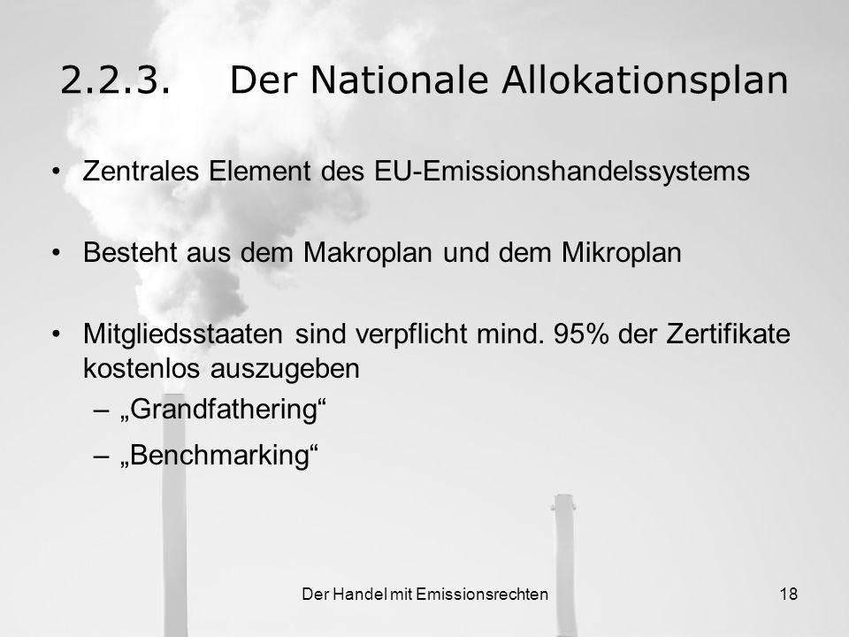 Der Handel mit Emissionsrechten17 2.2.Leitlinien zum Handel mit Emissionsrechten 2.2.2.Bundesweite Gesetzgebung gesetzliche Verankerung der EU Richtli