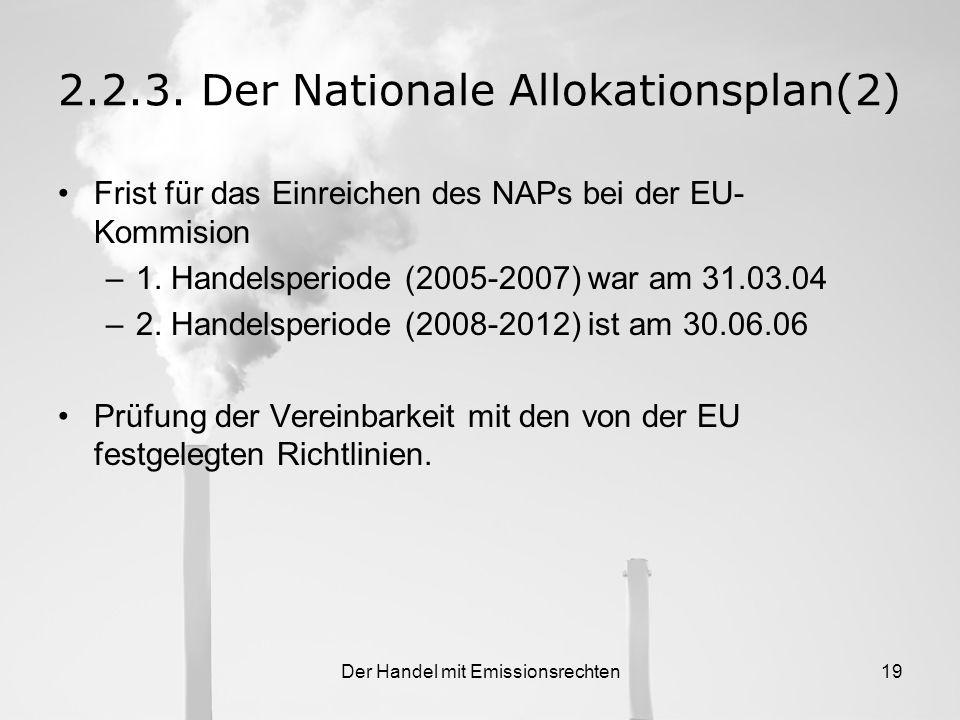Der Handel mit Emissionsrechten18 2.2.3.Der Nationale Allokationsplan Zentrales Element des EU-Emissionshandelssystems Besteht aus dem Makroplan und d