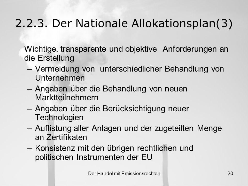 Der Handel mit Emissionsrechten19 2.2.3. Der Nationale Allokationsplan(2) Frist für das Einreichen des NAPs bei der EU- Kommision –1. Handelsperiode (