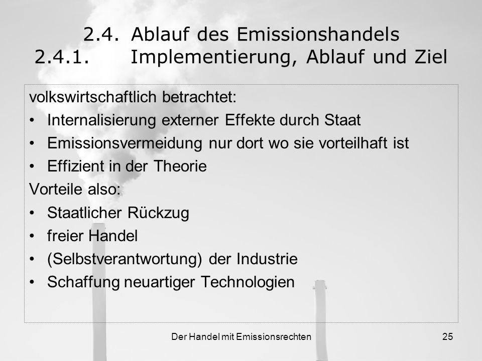 Der Handel mit Emissionsrechten24 2.4.Ablauf des Emissionshandels 2.4.1.Implementierung, Ablauf und Ziel Der volkswirtschaftliche Mechanismus 2005, 10