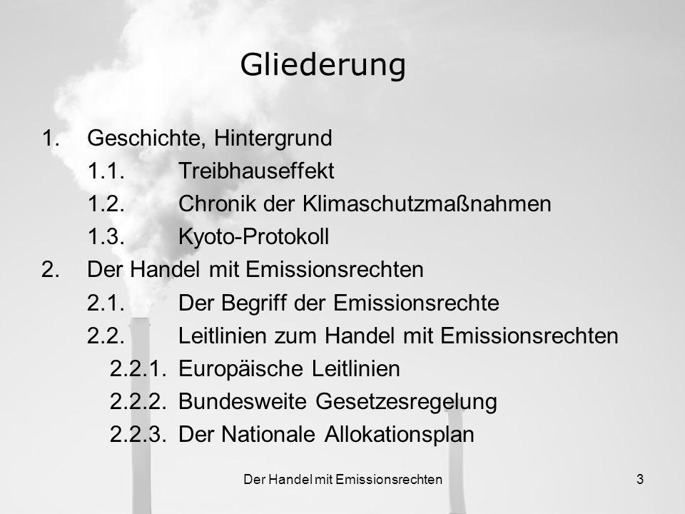 Der Handel mit Emissionsrechten3 Gliederung 1.Geschichte, Hintergrund 1.1.Treibhauseffekt 1.2.Chronik der Klimaschutzmaßnahmen 1.3.Kyoto-Protokoll 2.Der Handel mit Emissionsrechten 2.1.Der Begriff der Emissionsrechte 2.2.Leitlinien zum Handel mit Emissionsrechten 2.2.1.Europäische Leitlinien 2.2.2.Bundesweite Gesetzesregelung 2.2.3.Der Nationale Allokationsplan