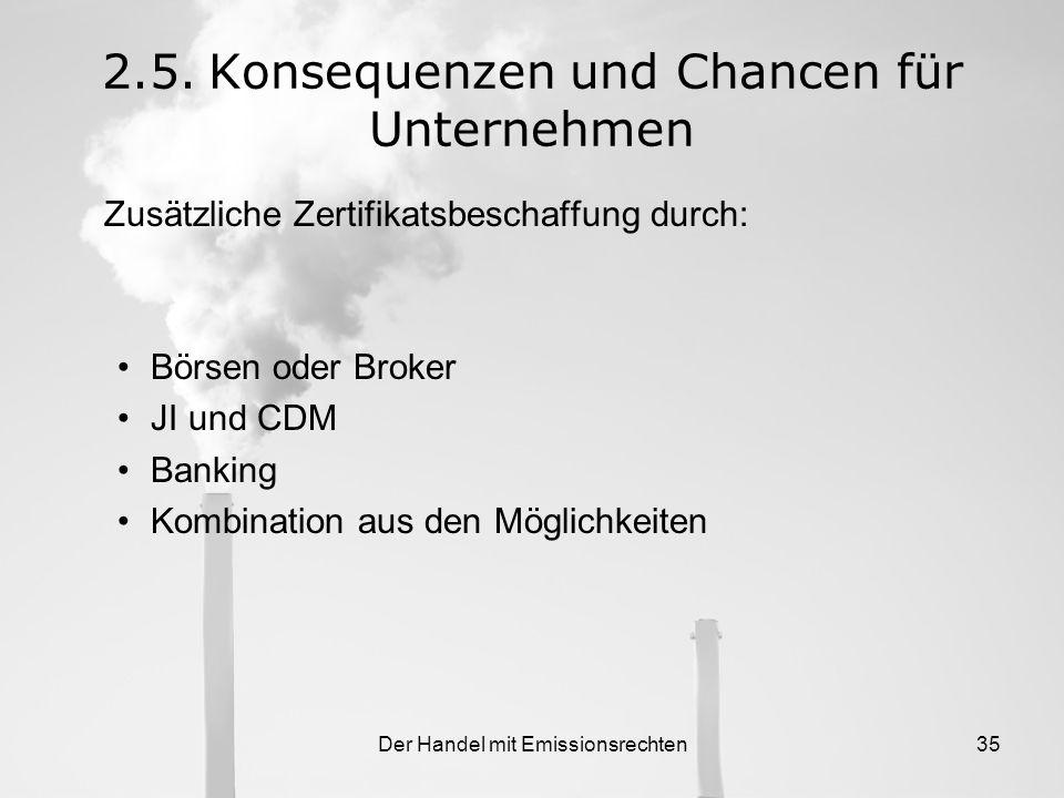 Der Handel mit Emissionsrechten34 2.5.Konsequenzen und Chancen für Unternehmen Einführung des Emissionshandels ist eine große Herausforderung Speziell