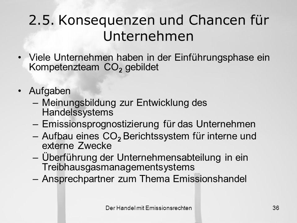 Der Handel mit Emissionsrechten35 Zusätzliche Zertifikatsbeschaffung durch: Börsen oder Broker JI und CDM Banking Kombination aus den Möglichkeiten 2.