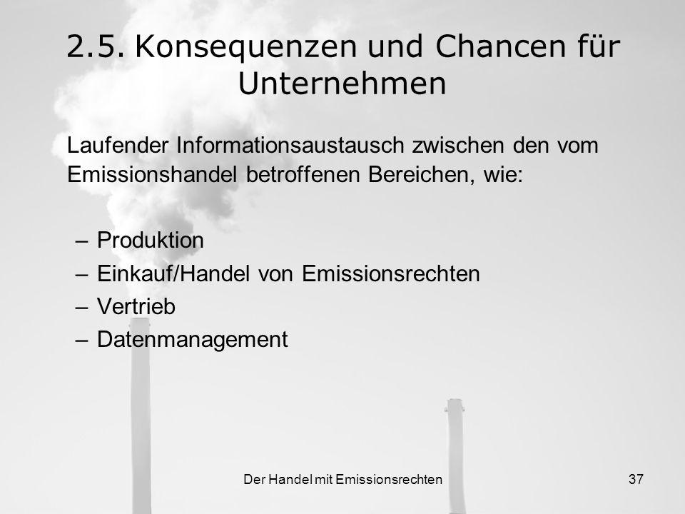 Der Handel mit Emissionsrechten36 Viele Unternehmen haben in der Einführungsphase ein Kompetenzteam CO 2 gebildet Aufgaben –Meinungsbildung zur Entwic