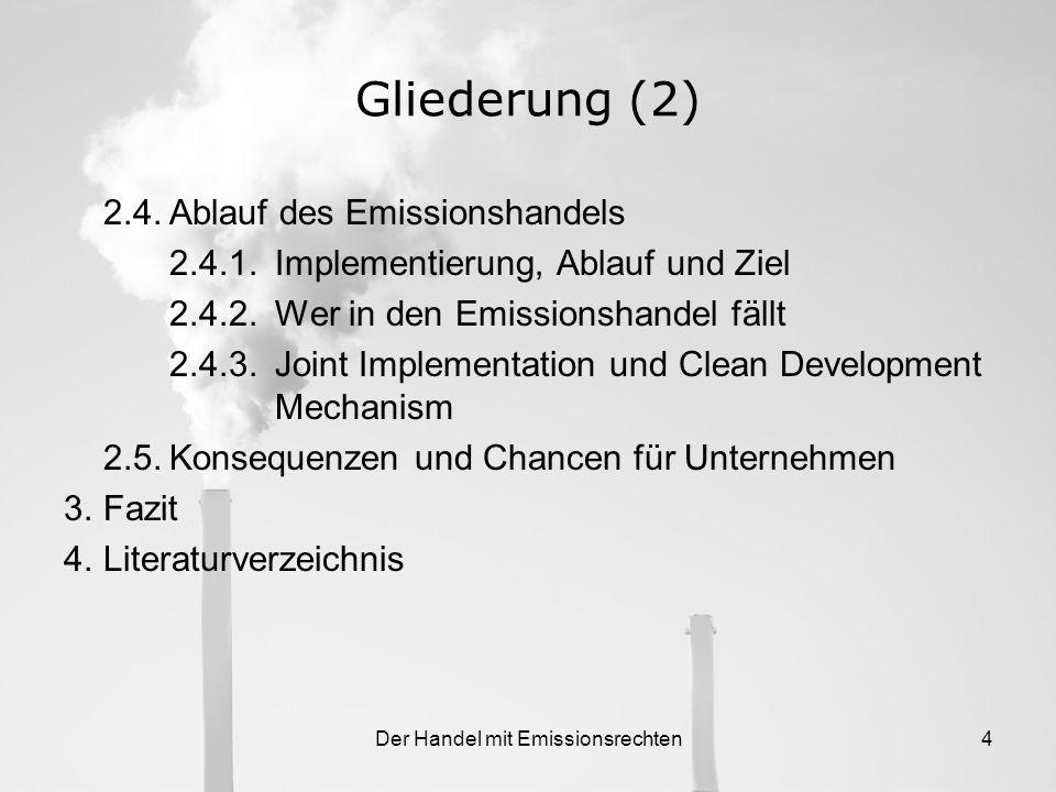 Der Handel mit Emissionsrechten4 Gliederung (2) 2.4.Ablauf des Emissionshandels 2.4.1.Implementierung, Ablauf und Ziel 2.4.2.Wer in den Emissionshandel fällt 2.4.3.Joint Implementation und Clean Development Mechanism 2.5.Konsequenzen und Chancen für Unternehmen 3.Fazit 4.Literaturverzeichnis