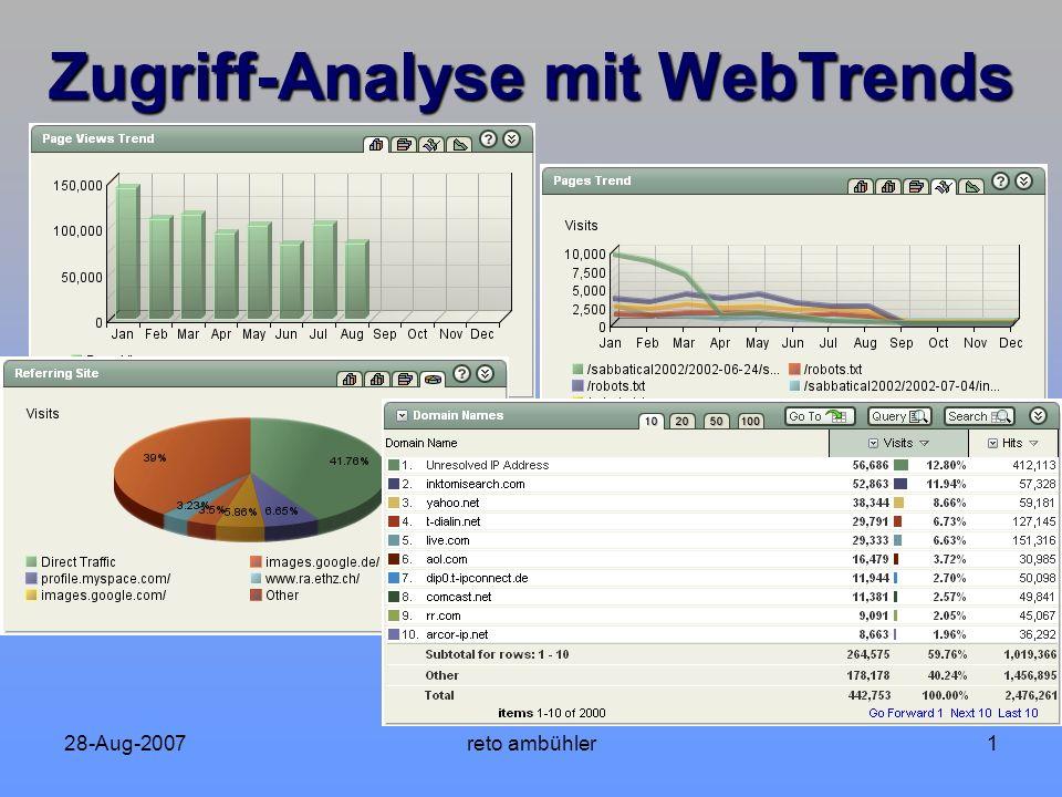 28-Aug-2007reto ambühler12 Zugriff-Analyse mit WebTrends - Zeitraum Woche 34