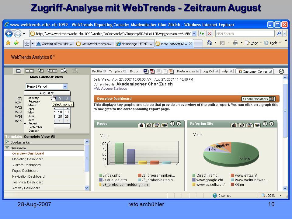 28-Aug-2007reto ambühler10 Zugriff-Analyse mit WebTrends - Zeitraum August