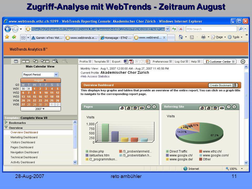 28-Aug-2007reto ambühler11 Zugriff-Analyse mit WebTrends - Zeitraum August