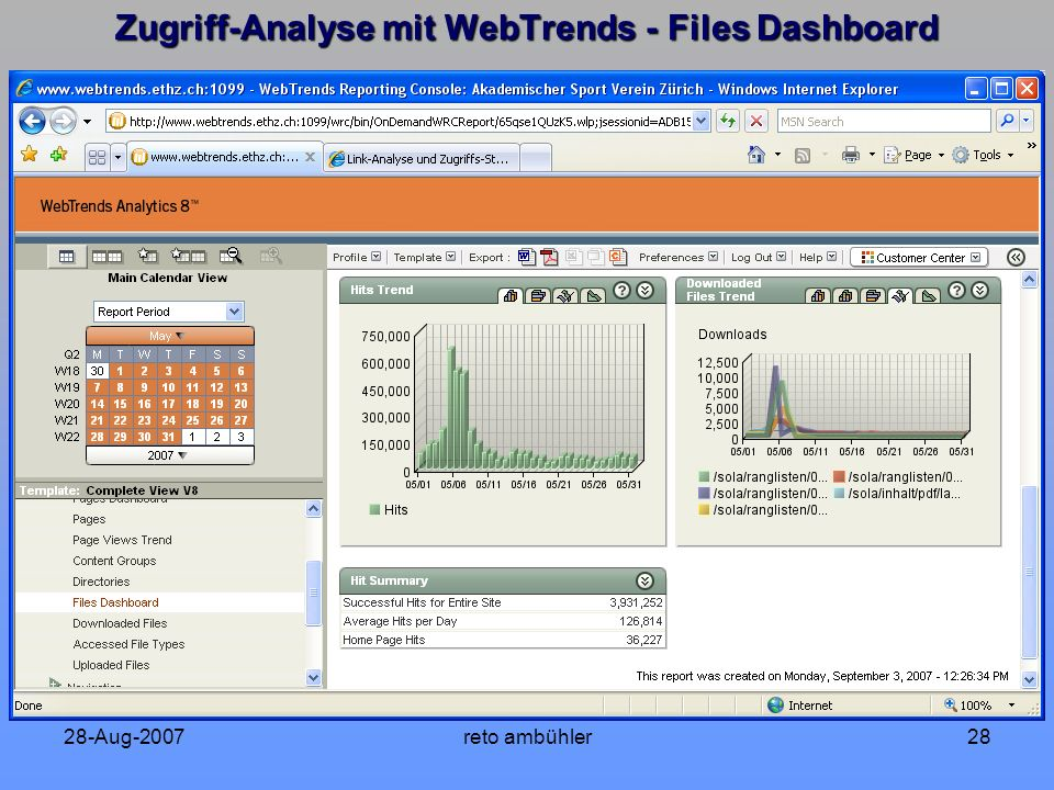 28-Aug-2007reto ambühler28 Zugriff-Analyse mit WebTrends - Files Dashboard